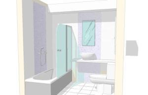 031 - Reforma de dos baños con gresite de vidrio.