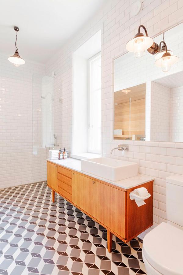 Reformas Baño Donostia:Baldosa hidráulica para el suelo del baño